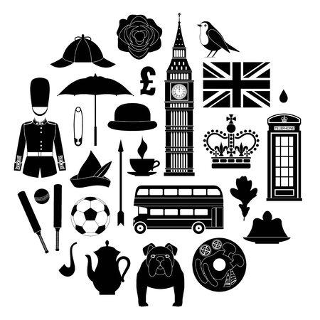 Silhouettes symbols of Great Britain. Set of vector stencils. Stock Illustratie