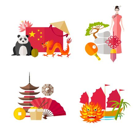 Compositions with symbols of China. Eastern attributes. Vector ready-made cards on the theme of tourism.