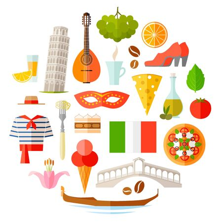 A set of Italian characters. Vector illustration with the famous symbols of Italy. Stock Illustratie