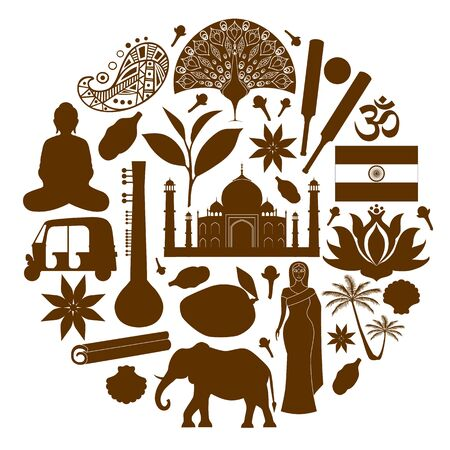 Banner with famous Indian symbols. Vector silhouettes and stencils. Stock Illustratie