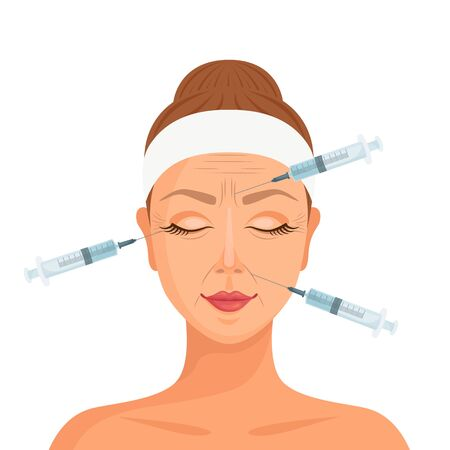 Injections of botulinum toxin in the face. Vector. Cosmetic procedure from aging.