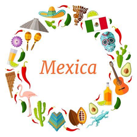 Cadre vectoriel rond de symboles mexicains célèbres dans un style plat. Couronne. Billet avec place pour texte sur le brouillard voyageant au Mexique.