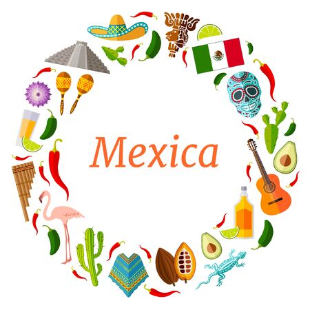 Round vector frame of famous mexican symbols in flat style. Wreath. Billet with place for text on the fog traveling to Mexico.  イラスト・ベクター素材