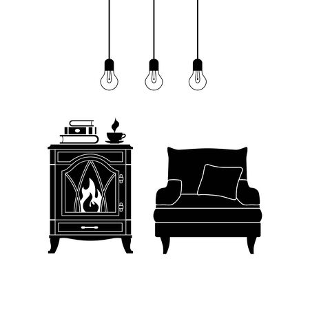 Silhouette of a room with furniture. Monochrome stencil of the interior. Vector room with fireplace and armchair. Lounge area. Ilustração