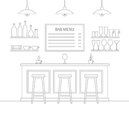 Cafe interior drawn by a stroke. Vector bar.