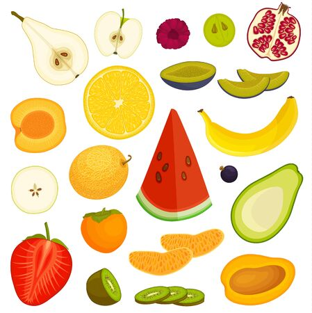 Set and s of various ripe fruits. Whole sliced and halved fruits. Vector.