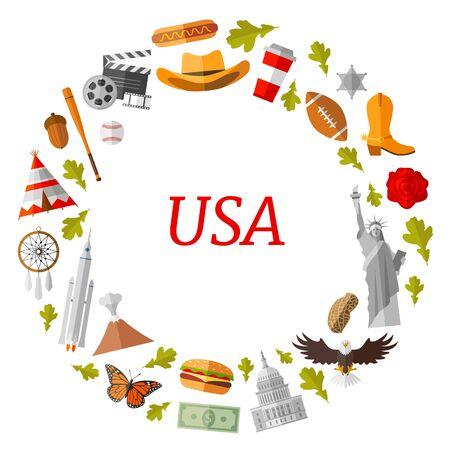 Frame template of USA symbols. Vector wreath. American travel. Stock Illustratie