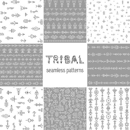 Set of tribal seamless patterns. Hand-drawn ethnic backgrounds. Vector boho patterns. Foto de archivo - 128326827