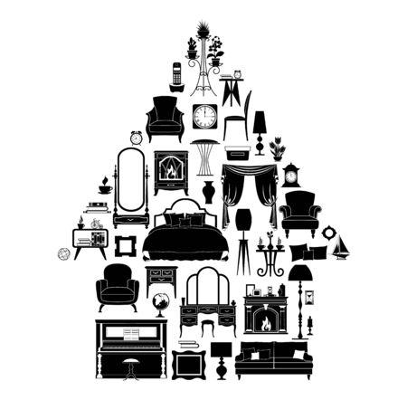Silhouetten verschiedener Möbel, Dekorationen und Accessoires in Form eines Hauses. Vektor-Illustration. Schwarze und weiße Schablone.