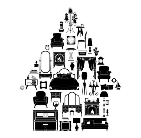Silhouettes of various furniture, decor and accessories laid out in the shape of a house. Vector illustration. Black and white stencil.