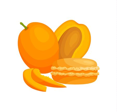 Still life with macaroon and and mango. Vector banner with french cookies.