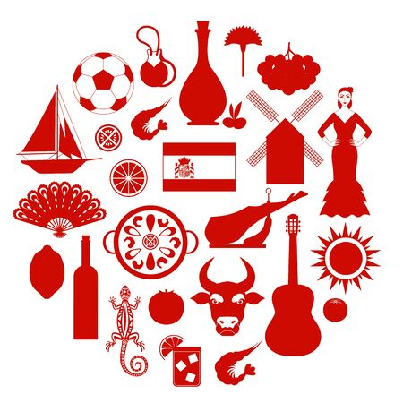 Silhouettes of the symbols of Spain. Vector illustration on a travel theme.
