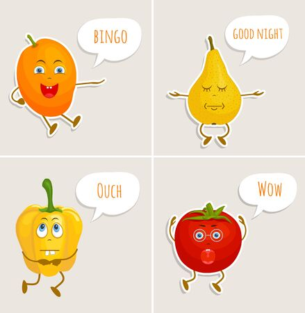 Characters stickers in cartoon style. Vector fruits and vegetables. Stock Illustratie