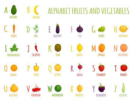 Alfabeto di vettore con frutta e verdura. Lettere per bambini. Per studiare le lettere ei nomi di cibi diversi. Vettoriali