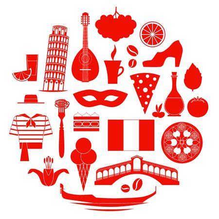 Set of italian, symbol silhouettes. Vector illustration.