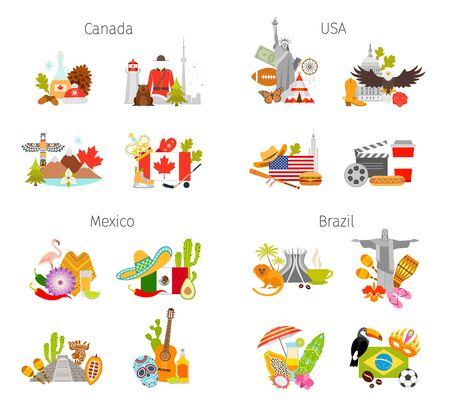 Compositions with famous symbols and attributes of Canada, Mexico, USA and Brazil. Vector banner. Set of design elements.
