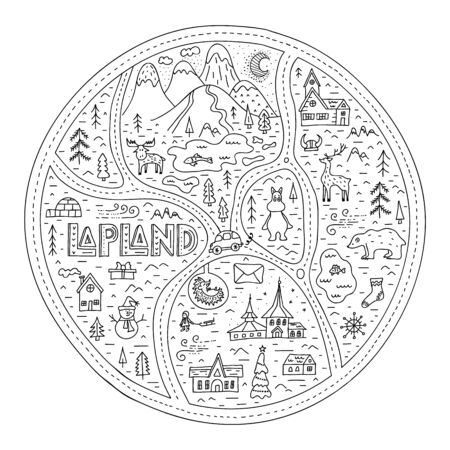 Doodle abstract map of Lapland with landmarks and symbols. Vector travel postcard. Иллюстрация