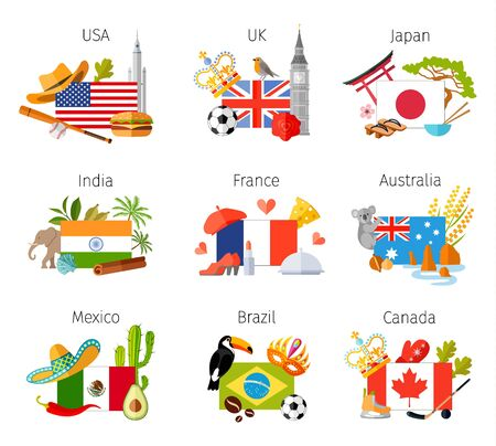 Set of compositions with flags of various countries. Travel symbols, attributes and souvenirs. Vector illustration on the theme of tourism. Template for travel agency. Illustration
