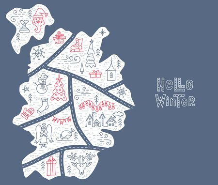 Hand drawn banner with the inscription hello winter. Vector lettering. Postcard with a map of the winter town. Streets, elements and symbols of winter, christmas and new year in linear style. Stok Fotoğraf - 131407447