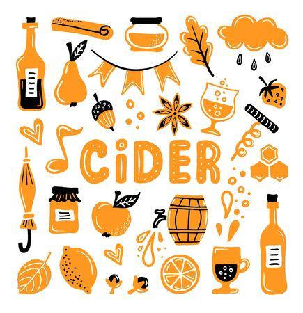 Set of elements on the theme of cider. Vector illustration. Çizim