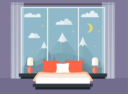 Bedroom in flat style with a window on the wall. Vector illustration. Stock Illustratie