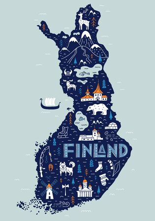 Finland cartoon map. Hand-drawn touristic map of the country with main attractions. Traveling poster with lettering. Doodle style.