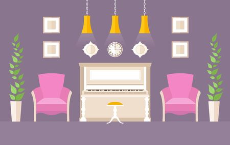 The interior of the music room with piano. Vector.