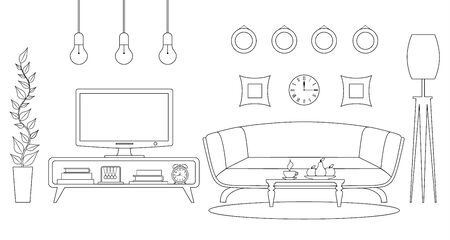 A room with a TV and furniture. Vector interior in outline style. Television area. Stock Illustratie