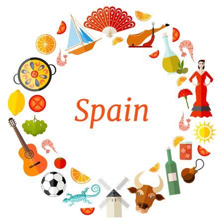 Frame template of Spanish symbols. Vector wreath. Stock Illustratie