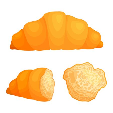 Croissant in cartoon style isolated on white background. A set of whole and sliced french bun. Stock Illustratie