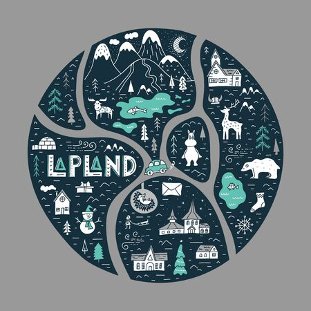 Hand-drawn map of Lapland. Vector travel abstract map. 일러스트