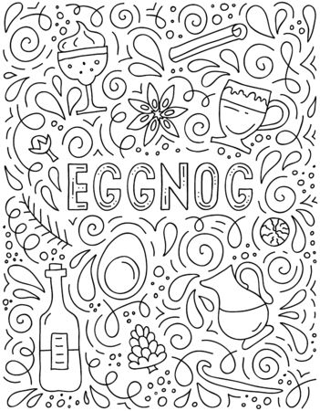 Abstract doodle poster with egnog inscription and various drink symbols.