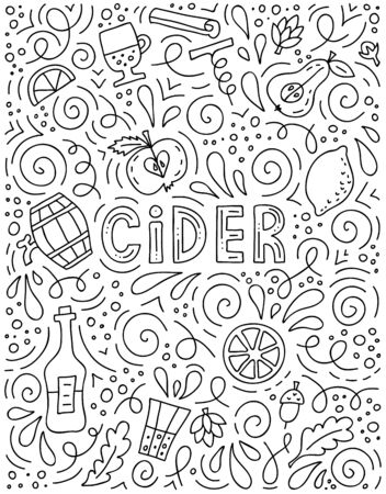 Doodle poster for advertising cider. Vector concept for menu or invitation. Vectores