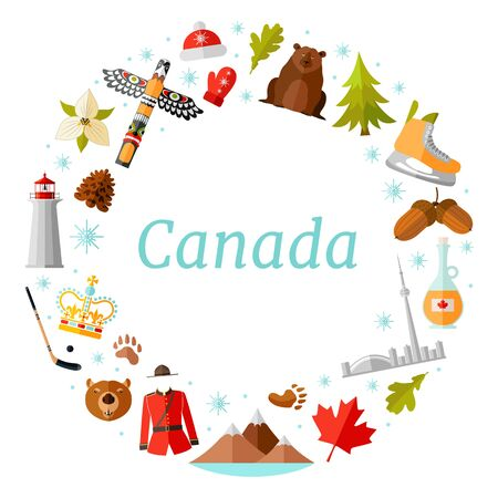 Frame template of Canadian symbols. Vector wreath.