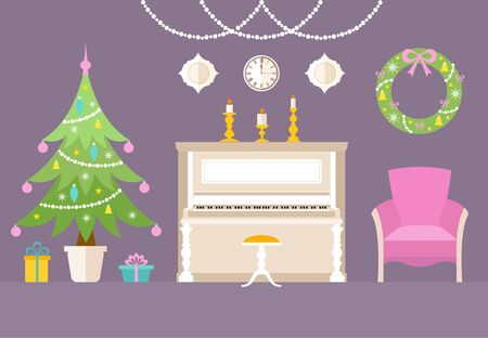 Christmas interior with piano. Music room dedicated to Christmas and New Year. Vector illustration in flat style. Greeting card or invitation. Stock Illustratie