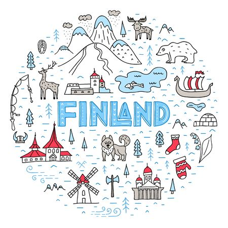 The main symbols and sights of Finland hand-drawn. Cartoon stylized country map in the shape of a circle. Vector template for advertising tourist routes and excursions.