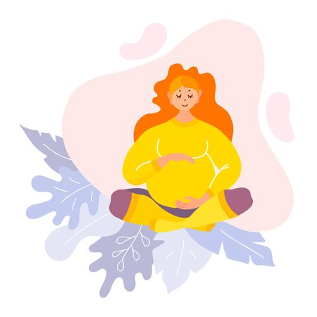 A pregnant woman sits cross-legged and hugs her belly. Mom awaiting the birth of a baby. Cute cartoon character with a smile. Vector illustration in a modern style isolated on white background.