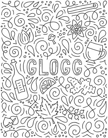 Glogg. Lettering poster with basic ingredients for a drink. Hand-drawn banner in doodle style. Vector glogi. Linear illustration. Template for menu or party invitation.