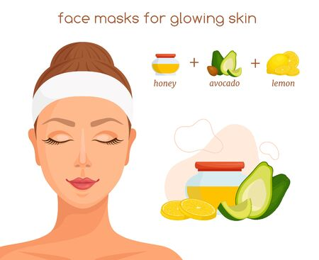 The recipe for a home mask for glowing skin. Vector infographic on the theme of skin care.