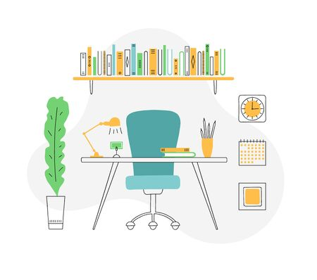 The interior of the office in a modern flat style. Equipped workplace. Vector illustration isolated on a white background. Design of a room with a desktop, armchair, bookshelf and houseplant. 일러스트