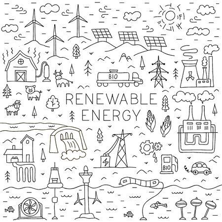 Concept de doodle d'énergie renouvelable. Illustration vectorielle sur le thème de la production d'électricité.
