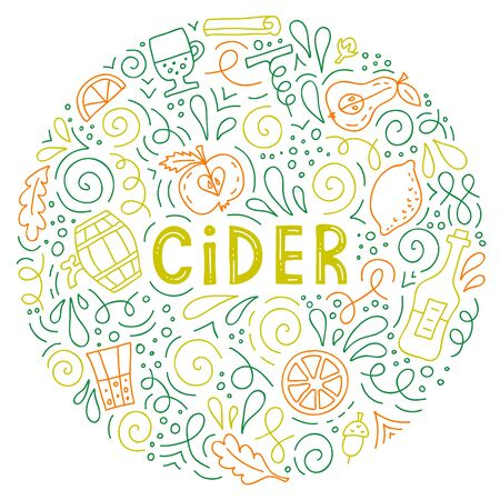 Cider. A round composition of hand-drawn elements. Doodle style. Vector Ilustração