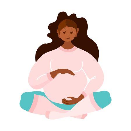 Embarazada. Mujer negra esperando el nacimiento de un bebé aislado sobre un fondo blanco. Vector.