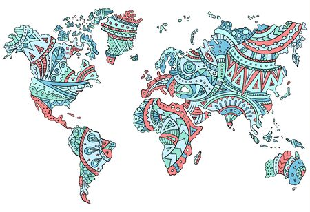 Hand-drawn doodle world map with patterns and ornaments in tribal style. Outline template for coloring page. Vector illustration isolated on a white. Bright ethnic stylization of the continents.