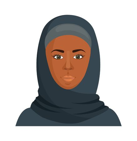 Black woman in a hijab. Vector illustration. African Muslim.