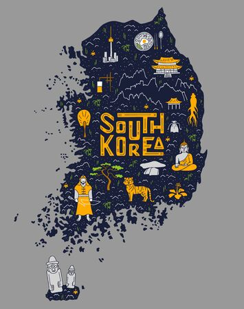 Hand-drawn doodle map of South Korea with deer country symbols and lettering. Vector. Ilustração