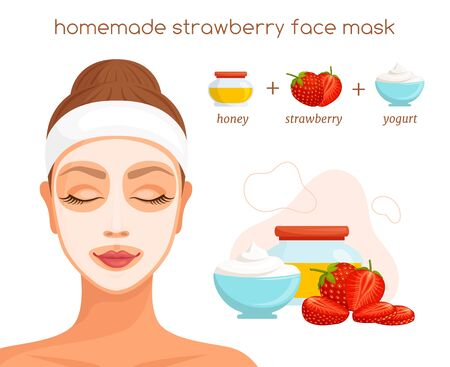 The recipe for a homemade face mask with strawberries. Vector.