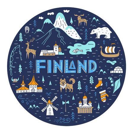 Karte von Finnland f Kreisform mit Schriftzug und Ländersymbolen. Vektor. Reisen und Tourismus in Europa. Vektorgrafik