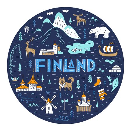 Map of Finland f circle shape with lettering and country symbols. Vector. Travel and tourism in Europe. 矢量图像