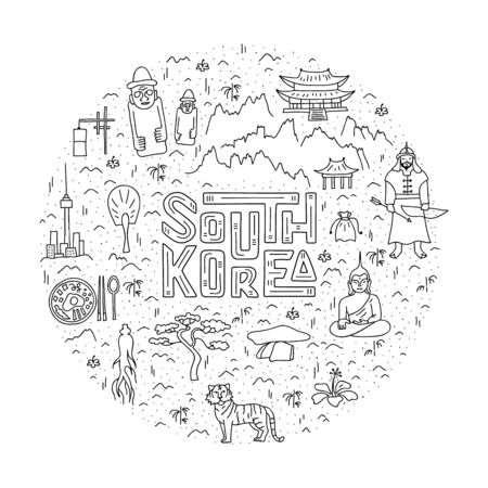 Linear circle map of South Korea with lettering and basic symbols of the country. Vector. Ilustração